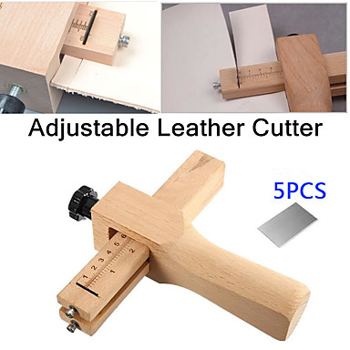 cheap Hand Tools-adjustable leather strap cutter leathercraft strip belt diy hand cutting wooden strip cutter with 5 blades leather tools