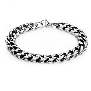 billige armbånd-Herre Kæde & Lænkearmbånd geometrisk Vertikal Stilfuld Titanium Stål Armbånd Smykker Sølv Til Daglig