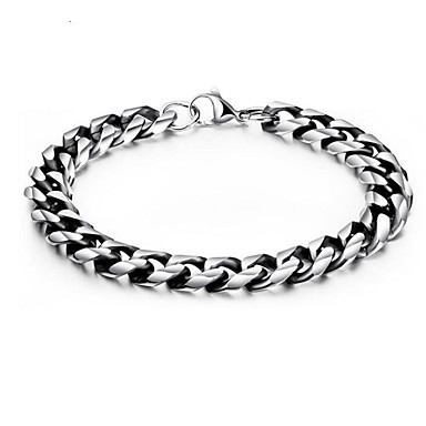 cheap Men's Bracelets-Men's Chain Bracelet Geometrical Vertical / Gold bar Stylish Titanium Steel Bracelet Jewelry Silver For Daily