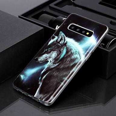 voordelige Galaxy S-serie hoesjes / covers-hoesje voor Samsung Galaxy S10 Plus / Galaxy S10 E IMD / Patroon Achterkant Night Wolf TPU voor S8 / S8 Plus / S9 / S9 Plus / S10