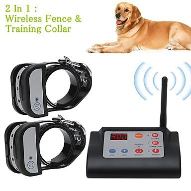 olcso Kutyák-2 az 1-ben vezeték nélküli elektromos kutyakerítés& kiképző nyakörv kutya kiképző nyakörvek vízálló újratölthető kisállattartó rendszer két kutya számára