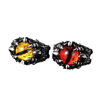 رخيصةأون خواتم-رجالي خاتم 1PC أصفر أحمر الصلب التيتانيوم دائري عتيق أساسي موضة مناسب للبس اليومي مجوهرات عين الشر كوول