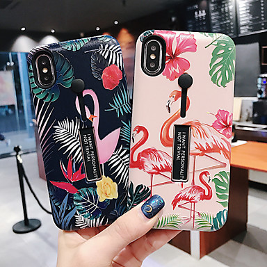 cheap iPhone Cases-Case For Apple iPhone XS / iPhone XR / iPhone XS Max Dustproof / with Stand / Pattern Back Cover Animal / Cartoon / Flower PC