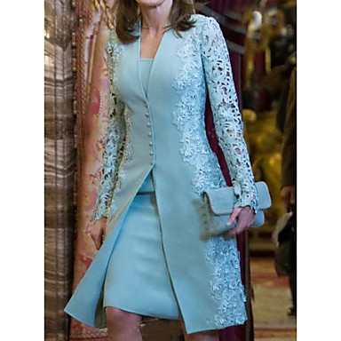 cheap Lace Dresses-Women's Two Piece Dress - Long Sleeve Solid Color Paisley Lace Formal Style Button Spring Fall Deep V Elegant For Mother / Mom Going out 2020 Light Blue S M L XL XXL XXXL
