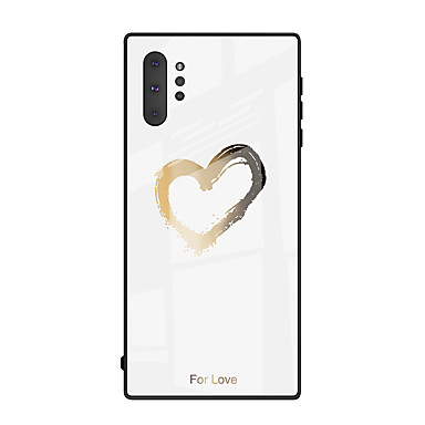 economico Custodie / cover per Galaxy serie Note-custodia in vetro temperato con motivo per samsung galaxy note 10 plus note 10 custodia protettiva in tpu in silicone morbido amore cuore per galaxy note 9 note 8