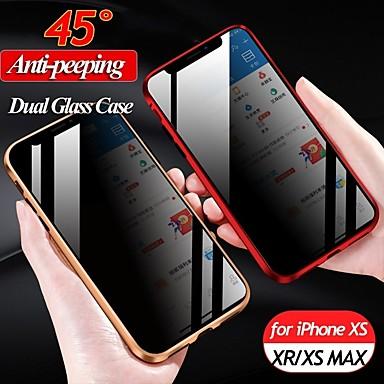 Недорогие Кейсы для iPhone-конфиденциальность магнитный закаленное стекло чехол для телефона для iphone 7 8 плюс x xs max xr антишпион металлический бампер двусторонняя стеклянная крышка