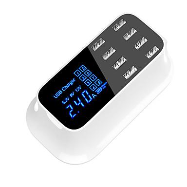 Недорогие Быстрые зарядные устройства-8-портовый смарт-универсальное зарядное устройство USB адаптер станции концентратор светодиодный дисплей мобильного телефона планшет настенное зарядное устройство настольного