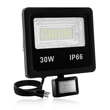olcso Kültéri lámpák-1db 30 W LED projektorok Vízálló / Új design / Mozgásérzékelő monitor Meleg fehér / Fehér 85-265 V Kültéri világítás / Udvar / Kert 60 LED gyöngyök