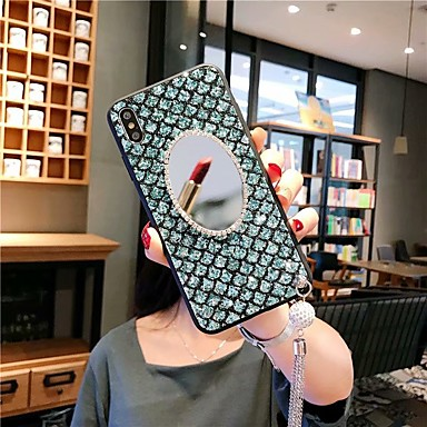 Недорогие Чехлы и кейсы для Xiaomi-Кейс для Назначение Xiaomi Xiaomi Redmi Note 6 / Xiaomi Redmi 6 Pro / Xiaomi Redmi Note 7 Защита от удара / Стразы / Зеркальная поверхность Кейс на заднюю панель Сияние и блеск Акрил