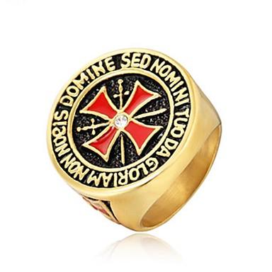 رخيصةأون خواتم-رجالي خاتم 1PC ذهبي فضي الصلب التيتانيوم دائري عتيق أساسي موضة مناسب للبس اليومي مجوهرات صليب كوول