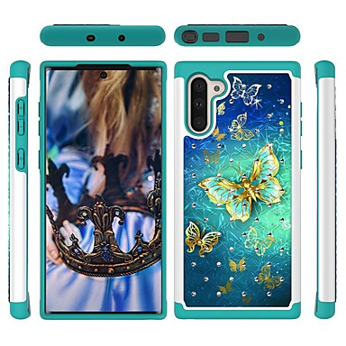 voordelige Galaxy Note-serie hoesjes / covers-hoesje Voor Samsung Galaxy Note 9 / Galaxy Note 10 / Galaxy Note 10 Plus Schokbestendig / Strass / Patroon Achterkant Vlinder TPU / PC