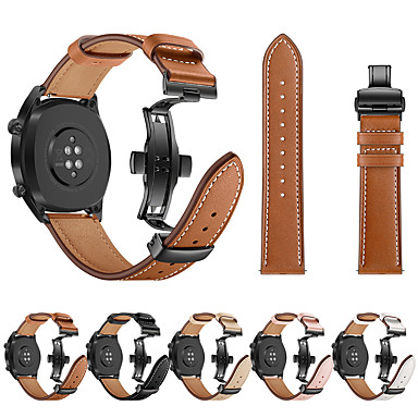 Недорогие Аксессуары для смарт-часов-Для Huawei часы GT смотреть ремешок черный бабочка пряжка из натуральной кожи ремешок браслет ремень