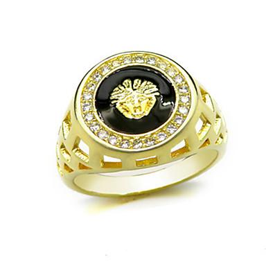 رخيصةأون خواتم-رجالي خاتم 1PC أصفر نحاس دائري أساسي الكورية موضة مهرجان مجوهرات أسد حيوان كوول