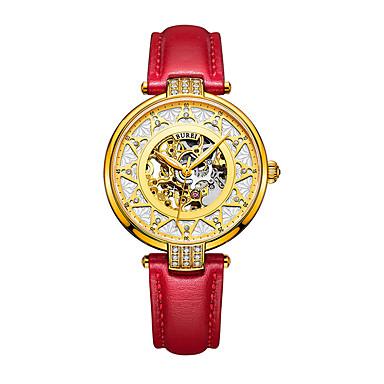 olcso Női órák-Női mechanikus Watch Automatikus önfelhúzós Műbőr Piros 30 m Vízálló Üreges gravírozás Analóg Alkalmi Divat - Arany Egy év Akkumulátor élettartama / Rozsdamentes acél