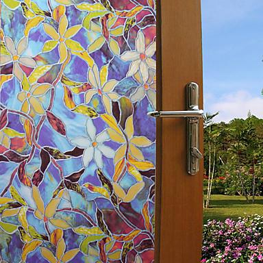 أزياء لون النباتات نافذة فيلم&أمبير. ملصقات الديكور الزهور / نمط هندسي / شخصية pvc (بولي فينيل كلوريد) نافذة ملصقا / مضحك