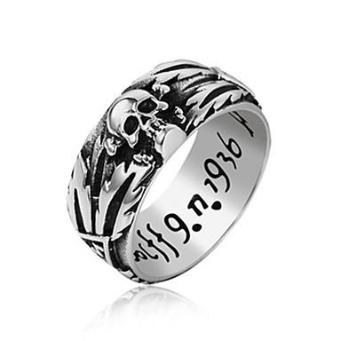 povoljno Prstenje-Muškarci Band Ring Prsten 1pc Crn Srebro Titanium Steel Cirkularno Vintage Osnovni Moda Dnevno Jewelry Lubanja Slovo Cool