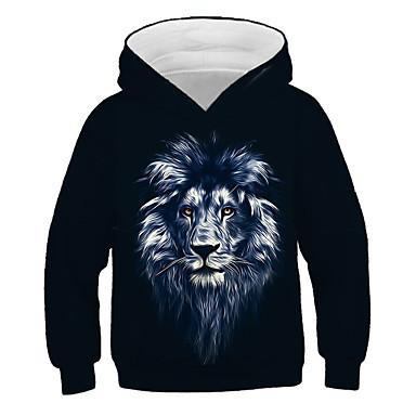 cheap Boys' 3D Clothing-Kids Boys' Active Street chic Lion Print 3D Animal Print Long Sleeve Hoodie & Sweatshirt Black