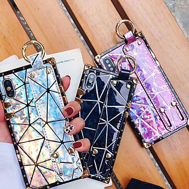 Недорогие Кейсы для iPhone X-чехол для яблока iphone xs max / iphone 8 plus пылезащитный / с подставкой / повязкой на задней крышке с геометрическим рисунком / с цветным градиентом soft tpu для iphone 7/7 plus / 8/6/6 plus / xr /