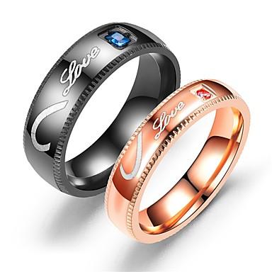 ieftine Inele-Pentru cupluri Inele Cuplu Inel Tail Ring 1 buc Negru Roz auriu Teak Circular Vintage De Bază Modă Promisiune Bijuterii Inimă Heart