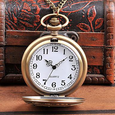 رخيصةأون ساعات الرجال-رجالي ساعة جيب كوارتز فينتاج إبداعي تصميم جديد كوول تناظري-رقمي عتيق - برونز