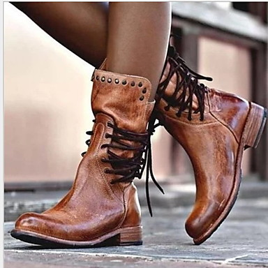 cheap Shoes & Bags-Women's Boots Comfort Shoes Flat Heel Round Toe PU Mid-Calf Boots Fall & Winter Black / Brown / Gray