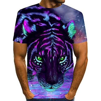 povoljno Muška moda-Majica s rukavima Muškarci - Ulični šik / pretjeran Ležerno / za svaki dan / Jabuka Color block / 3D / Životinja Print Tigrasto Crvena