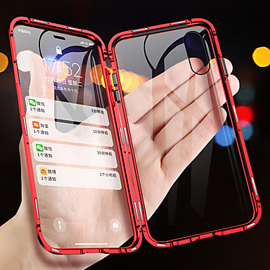 voordelige iPhone 6 Plus hoesjes-magnetische adsorptie metalen telefoonhoes voor iphone xs max xr xs x dubbelzijdige glazen magneethoes voor iphone 8 plus 8 7 plus 7 6 plus 6 schokbestendige hoesjes