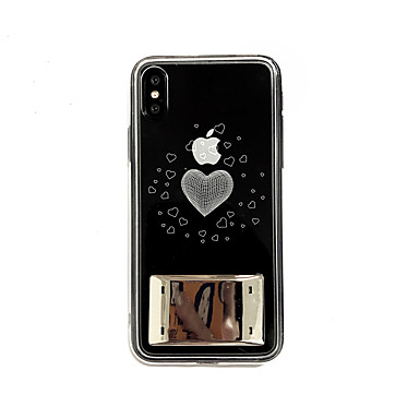 voordelige iPhone-hoesjes-hoesje Voor Apple iPhone XS / iPhone XR / iPhone XS Max LED / Transparant / Patroon Achterkant Woord / tekst / Hart TPU