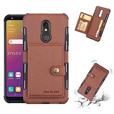 Недорогие Чехлы и кейсы для LG-Кейс для Назначение LG LG Stylo 5 / LG K40 Бумажник для карт / Защита от удара Кейс на заднюю панель Однотонный ТПУ