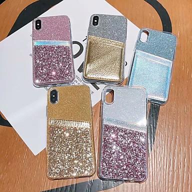 رخيصةأون حافظات / جرابات هواتف جالكسي A-غطاء من أجل Samsung Galaxy S9 / S9 Plus / S8 Plus حامل البطاقات / ضد الصدمات / شبه شفّاف غطاء خلفي شفاف / بريق لماع TPU