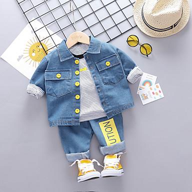 povoljno Odjeća za bebe Za dječake-Dijete Dječaci Aktivan / Osnovni Print Print Dugih rukava Regularna Normalne dužine Komplet odjeće Crn