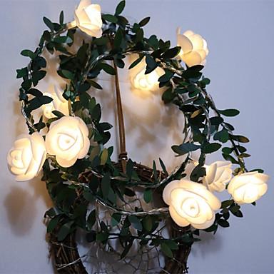 رخيصةأون شرائط ضوء مرنة LED-1.5M شرائط قابلة للانثناء لأضواء LED / أضواء سلسلة 10 المصابيح أبيض دافئ إبداعي / ديكور / زفاف بطاريات آ بالطاقة 1PC