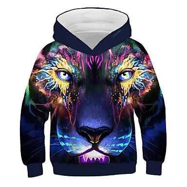 cheap Boys' 3D Clothing-Kids Boys' Active Street chic Lion Print 3D Animal Print Long Sleeve Hoodie & Sweatshirt Rainbow