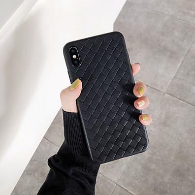 voordelige iPhone X hoesjes-hoesje voor apple iphone xs / iphone xr / iphone xs max ultradunne achterkant effen gekleurd / geometrisch patroon pu leer