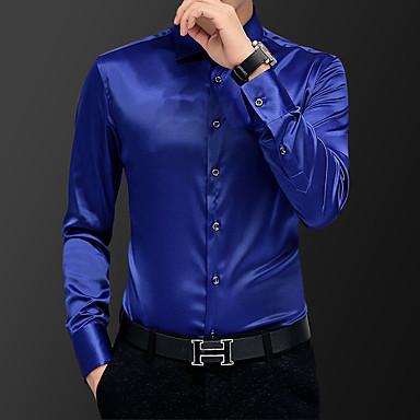رخيصةأون قمصان رجالي-رجالي عمل قياس كبير قميص, لون سادة / كم قصير