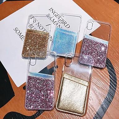 Недорогие Кейсы для iPhone-чехол для яблока iphone xs / iphone xr / iphone xs max / 7 8 plus 6splus 6 держатель карты / противоударный / полупрозрачный задняя крышка прозрачная / блестящий блеск тпу