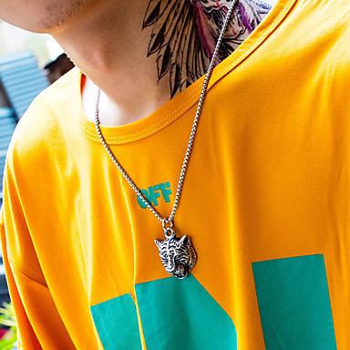 رخيصةأون القلائد-رجالي قلائد الحلي منقوش Tiger عبارة الحديث الصلب التيتانيوم ذهبي فضي 55 cm قلادة مجوهرات 1PC من أجل هدية مدرسة شارع نادي وعد