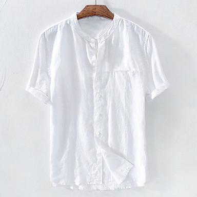 رخيصةأون قمصان رجالي-رجالي أساسي بقع مقاس أوروبي / أمريكي - كتان قميص, لون سادة رقبة طوقية مرتفعة