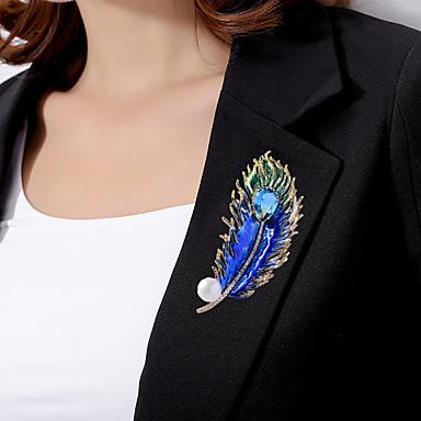 povoljno Broševi-Žene Broševi fantazija Perje Luksuz pomodan Elegantno Šarene Biseri Pozlaćeni Imitacija dijamanta Broš Jewelry Zlato Za Vjenčanje Angažman Dar Rad Obećanje