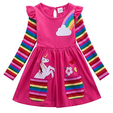 cheap Girls' Dresses-Kids Girls' Active Unicorn Geometric Animal Print Long Sleeve Above Knee Dress Blue