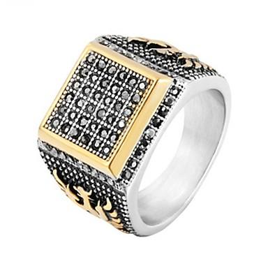 رخيصةأون خواتم-رجالي خاتم 1PC أسود الصلب التيتانيوم دائري عتيق أساسي موضة زفاف مجوهرات إيجال كوول