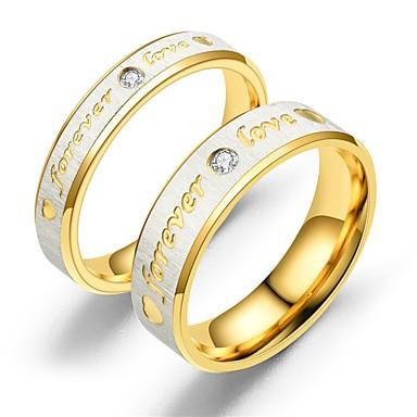 رخيصةأون خواتم-الزوجين خواتم الزوجين خاتم 1PC ذهبي ذهبي روزي الفولاذ المقاوم للصدأ دائري عتيق أساسي موضة وعد مجوهرات قلب Heart