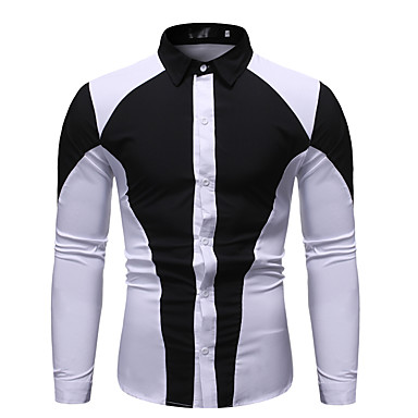 رخيصةأون قمصان رجالي-رجالي أنيق قميص, ألوان متناوبة