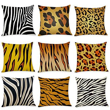 ราคาถูก หมอน-9 ชิ้น ผ้าลินิน Pillow Cover, ลายแถบ Patterned ไม่เป็นทางการ แฟชั่น ปาหมอน