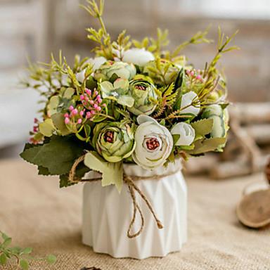 زهور اصطناعية 1 فرع كلاسيكي أوروبي النمط الرعوي الورود الفاوانيا أزهار الطاولة