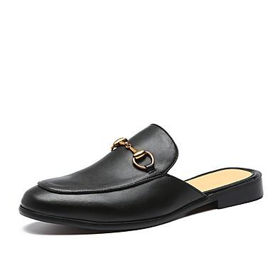Недорогие Мужские сандалии-Муж. Кожаные ботинки Кожа Лето Башмаки и босоножки Черный