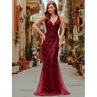cheap Special Occasion Dresses-Mermaid / Trumpet Plunging Neck Floor Length Tulle / Sequined Formal Evening Dress with Sequin / Appliques / Draping by LAN TING Express