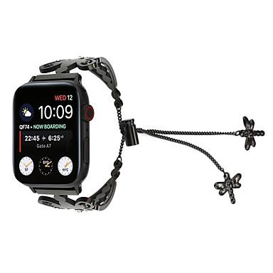 voordelige Smartwatch-accessoires-Diamond vrouwen horlogeband voor Apple Watch 38 / 40mm 42 / 44mm Dragonfly ketting roestvrij stalen horlogeband uitgehold armband serie 4 3 2 1