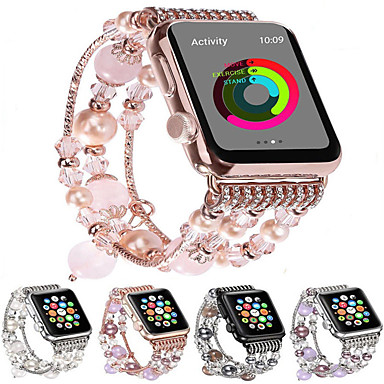 billige Apple Watch-remmer-mote armbånd for apple watch band 44mm / 40mm / 38mm / 42mm bling kvinner agat perler stropp armbånd band for apple watch serie 4/3/2/1 for jenter