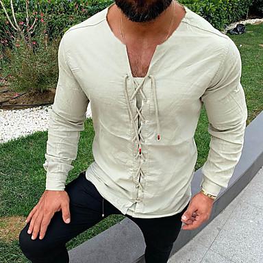 رخيصةأون قمصان رجالي-رجالي مقاس أوروبي / أمريكي - كتان قميص, لون سادة رقبة دائرية / كم طويل